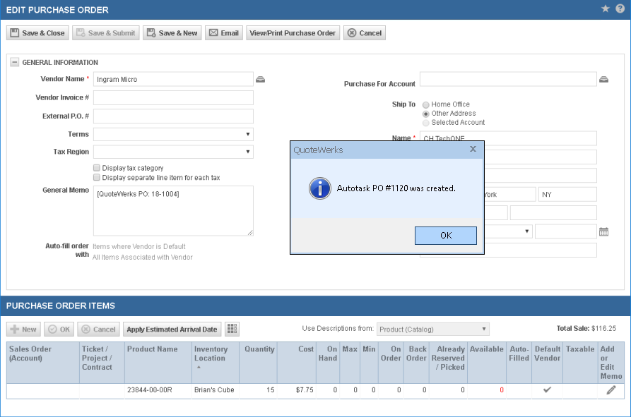 QuoteWerks Creates Purchase orders in Datto Autotask PSA