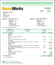 QuoteWerks Sample Order