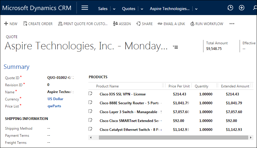 QuoteWerks Microsoft Dynamics CRM Integration Quotes Proposals Amazing Crm Quote