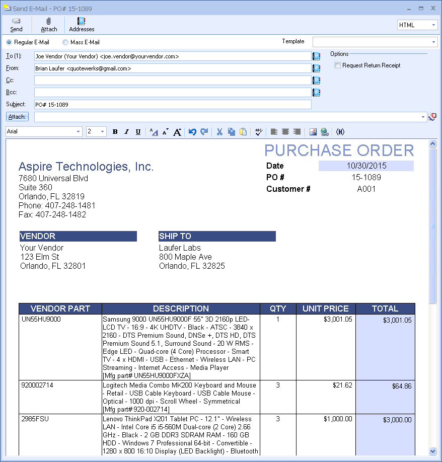 Procurement cpq quotewerks for Purchase order email template