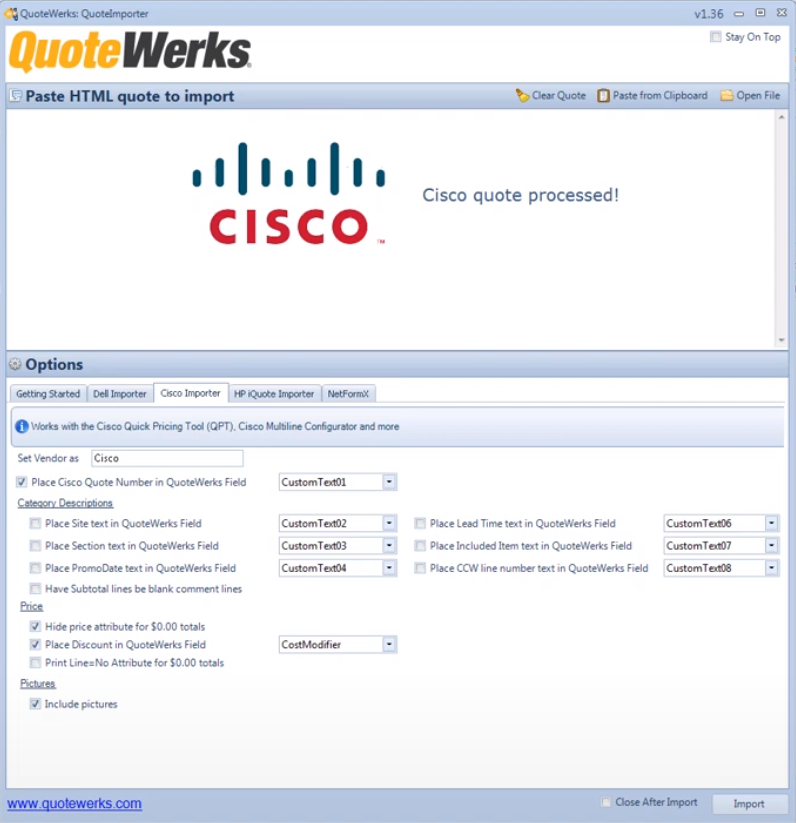 QuoteWerks Quote Importer for Cisco