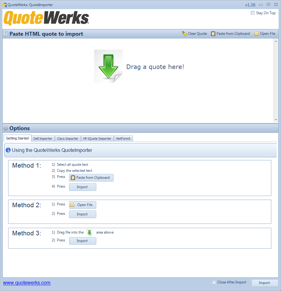 QuoteWerks Quote Importer enables you to import quotes from Dell, Cisco, and Netformx